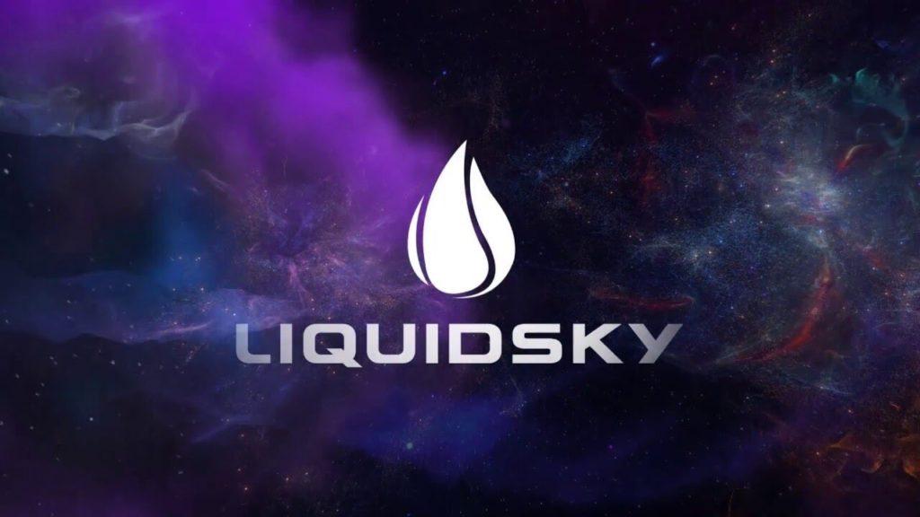 O logo da LiquidSky com uma galáxia no fundo