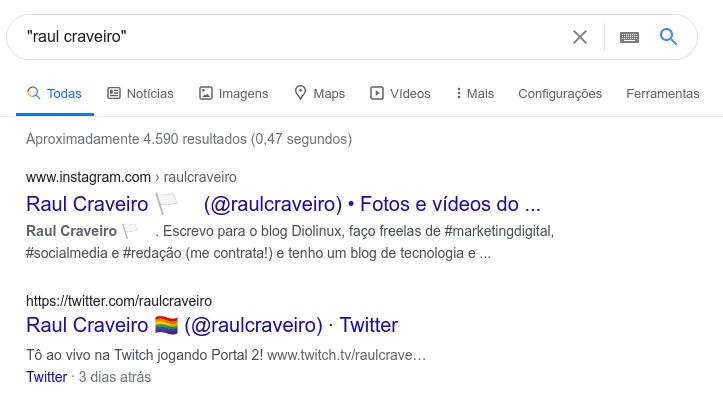 """Resultado do Google pesquisando pelo termo """"Raul Craveiro"""" entre aspas."""